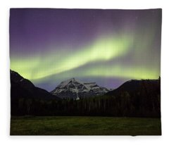 Aurora Over Mt Robson Fleece Blanket