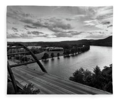 Fleece Blanket featuring the photograph Austin 360 Pennybacker Bridge Sunset by Todd Aaron