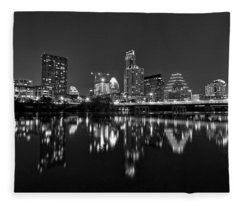 Fleece Blanket featuring the photograph Austin Skyline At Night Black And White by Todd Aaron