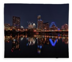 Fleece Blanket featuring the photograph Austin Skyline At Night by Todd Aaron