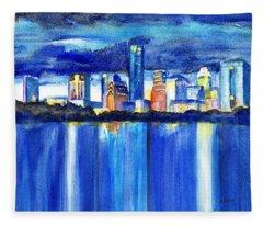 Austin Skyline At Sunset Fleece Blanket