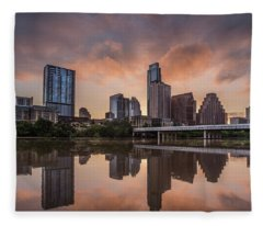 Fleece Blanket featuring the photograph Austin Skyline Sunrise Reflection by Todd Aaron