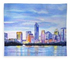 Austin Skyline Sunset Glow Fleece Blanket