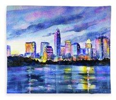 Austin Texas Colorful Skyline Sunset Fleece Blanket