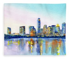 Austin Texas Skyline Fleece Blanket