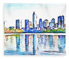 Austin Texas Skyline Lady Bird Lake Fleece Blanket
