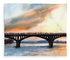Austin, Tx Congress Bridge Bats Fleece Blanket