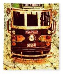 Australia Travel Tram Map Fleece Blanket