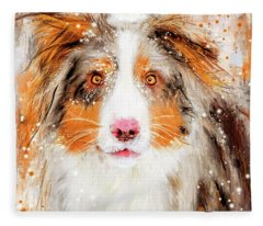 Australian Shepherd Paintings Fleece Blanket