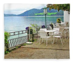 Austrian Cafe On The Lake Fleece Blanket