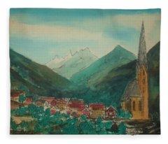 Austrian Village On Road To Innsbruck From Venice Fleece Blanket