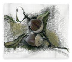 Autumn Acorns On An Oak Twig Fleece Blanket