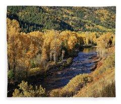 Autumn Along The River I Fleece Blanket