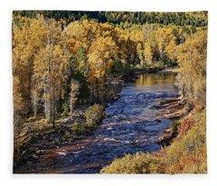 Autumn Along The River II Fleece Blanket