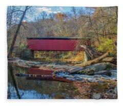 Autumn Along The Wissahickon Creek -thomas Mill Covered Bridge Fleece Blanket