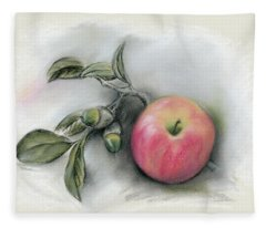 Autumn Apple And Acorns Fleece Blanket