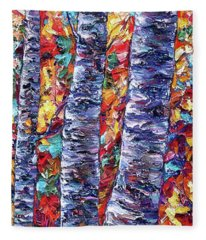 Autumn  Aspen Trees Contemporary Painting  Fleece Blanket