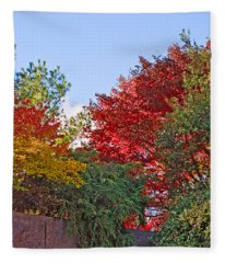 Autumn At F D R Fleece Blanket