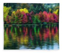 Autumn At Green Lake Seattle Fleece Blanket