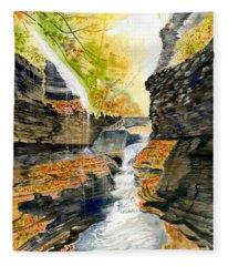 Autumn At Rainbow Falls  Fleece Blanket