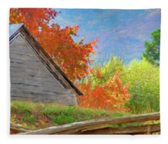 Autumn Barn Digital Watercolor Fleece Blanket
