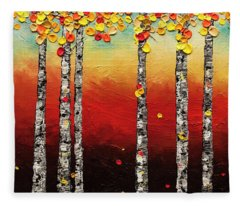 Autumn Birch Trees Fleece Blanket