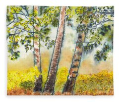 Autumn Birch Trees Fleece Blanket