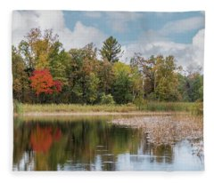 Autumn Blue Heron Fleece Blanket