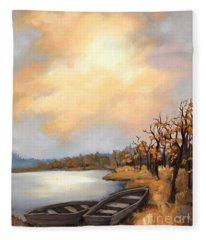 Autumn Boats Fleece Blanket