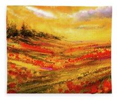 Autumn Burst - Autumn Foliage Colorful Art Fleece Blanket