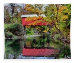 Autumn Colors Over Slaughterhouse. Fleece Blanket