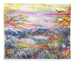Autumn Country Mountains Fleece Blanket