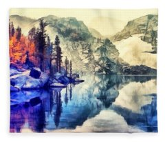 Autumn Day On The Lake. Fleece Blanket
