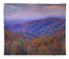 Autumn Deciduous Forest Great Smoky Fleece Blanket
