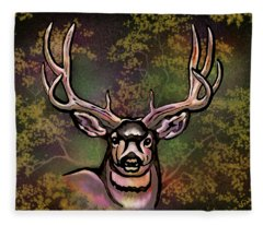 Autumn Deer Abstract Fleece Blanket