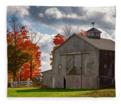 Autumn Fall Colors Turn Next To Grey Barn Fleece Blanket
