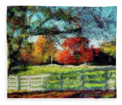 Autumn Field On The Farm Fleece Blanket