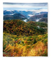 Autumn Foliage On Blue Ridge Parkway Near Maggie Valley North Ca Fleece Blanket
