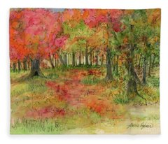 Autumn Forest Watercolor Illustration Fleece Blanket