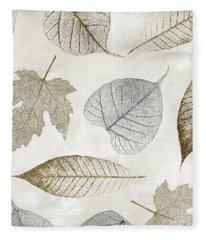Autumn Gold Leaf Pattern II Fleece Blanket