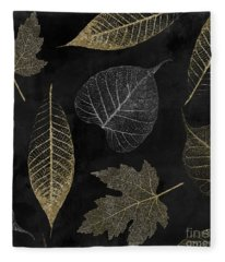Autumn Gold Leaf Pattern Fleece Blanket