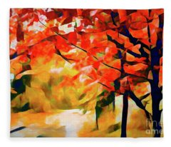 Glorious Foliage On The Rail Trail - Abstract Fleece Blanket
