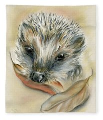 Autumn Hedgehog Fleece Blanket