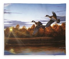 Autumn Home - Wood Ducks Fleece Blanket