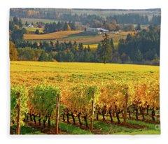 Autumn In Oregon Wine Country Fleece Blanket