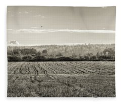 Autumn In The Countryside Bw Fleece Blanket