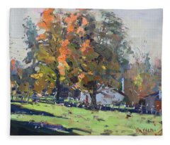 Autumn In The Farm Fleece Blanket