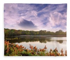 Autumn Landscape Of A Chesapeake Bay Lake During Sunset Fleece Blanket