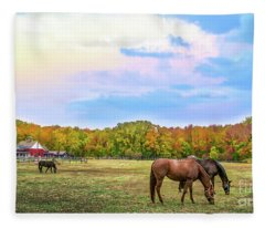 Autumn Landscape Of Horses Grazing On A Maryland Farme Of Horses Grazing On A Ma Fleece Blanket