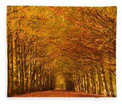 Autumn Lane In An Orange Forest Fleece Blanket